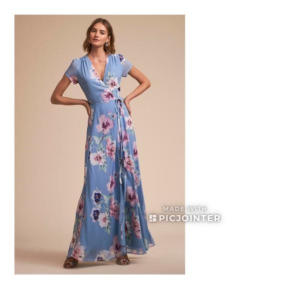 cf6cf19191dbb BHLDN Yumi Kim Calypso Blue Floral Wrap Maxi Dress. NWT. Anthropologie